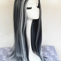 Monster High Frankie Stein Cosplay Wig, Black and White Multi Color Long Cosplay Wigs,Long Costume Anime Wigs for Party UF088