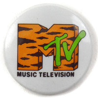 Vintage 80s MTV Music Television Tiger Stripes Logo Pinback Badge Pin Button