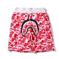 BAPE AAPE Summer Classic Popular Men Women Casual Camouflage Shark Mouth Print Sport Short Pink