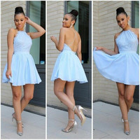 Baby Blue Homecoming Dress,  Halter Lace Backless Chiffon Cocktail Dress, Short Prom Dress