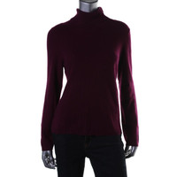 Charter Club Womens Cashmere Ribbed Trim Turtleneck Sweater