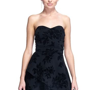 Tube Top Floral Velour Flared Dress