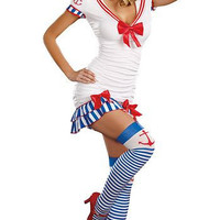 Adult Womens Sexy Pinup Sailor Halloween Costume 3pc Mini Dress Set Small/Medium