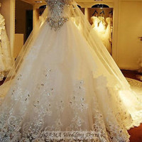 Luxury Cathedral Train Wedding Dress with Sequined Beadied Long Peacock Cloak