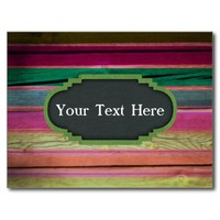 Rainbow Wood With Chalkboard Personalization Postcard