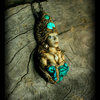 Aqua Goddess Hand Sculpted pendant with Turquoise gemstone Free Shipping