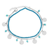 Turquoise Beads Anklet Foot Chain Ankle Snow Bracelet Charm Leaf Anklet Tassel Beach Vintage Foot Jewelry Gift