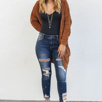 Love Me Or Not Dark Blue Mid Rise Cropped Skinny Jeans