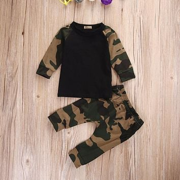 Army Camouflage Baby Boy Girl Set Long Sleeve Top Newborn Baby Suit Boy Clothing Printed Sets Gift Suits Kids Clothes Set Infant