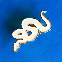 Snake Pin | White Enamel