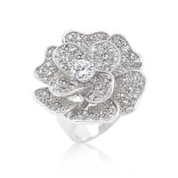 Large Flower Cubic Zirconia Cocktail Ring, size : 08