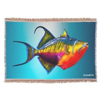 Psychedelic Colorful Triggerfish Fish Drawing Throw Blanket