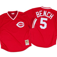Mitchell & Ness Johnny Bench 1983 Authentic Mesh BP Jersey Cincinnati Reds In Scarlet