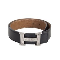 53370 auth HERMES black Box & beige Gold leather TUAREG H Buckle Belt Sz. 65