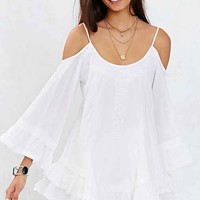 Band Of Gypsies Bell-Sleeve Embroidered Cold-Shoulder Top- White
