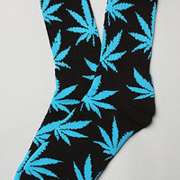 The Plant Life Socks in Black & Cyan Blue