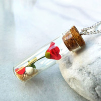 Rose bottle necklace, flower and seashell in a glass vial, birthflower of June, personalized jewelry