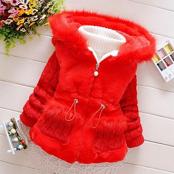 2017 Autumn and winter fashion Baby cotton jacket, add wool warm Baby girl cotton jacket, even the cap Baby girl cotton coat