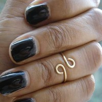 Above Knuckle Ring Gold Plated Double Curve Midi Ring from azteclovers