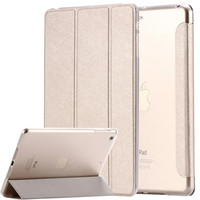for ipad mini / ipad5 /6 Air 2 Flip Luxury Transparent Clear Silk Leather Case For ipad Air /air2 / Mini 1 2 3 4 Stand Cover