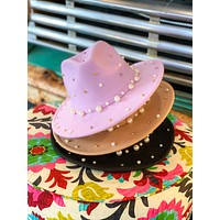 Pistol's & Pearl Hat- Western Hat- Pearl Bead Hat- Rodeo Hat- Senior Pictures- Adjustable Hat To Fit All