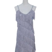 Anna-Kaci S/M Fit Smokey Silver Sequined Fringe 1920s Flapper Inspired Dress