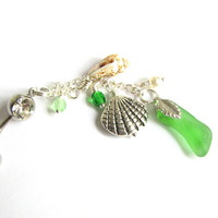 Long Sea Glass Belly Button Ring - Emerald Green Dangling Beach Glass Belly Ring with Sea shells