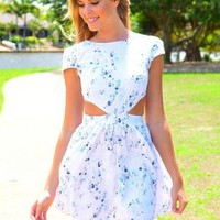 Floral Print Cutout Dress with Cap Sleeves & High Neckline