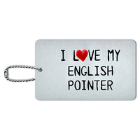 I Love My English Pointer Written on Paper ID Card Luggage Tag