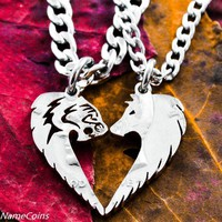 Tribal Tiger and Wolf Couples Necklaces