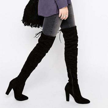 Public Desire Olivia Tie Back Heeled Thigh High Boots at asos.com