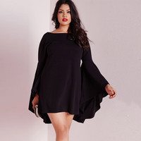 Causal Black Long Sleeve Casual Plus Size One Piece Dress = 4804194116