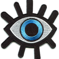 Evil Seeing Eye Illuminati Iron On Embroidered Patch