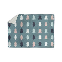 """afe images """"Christmas Tree Silhouettes"""" Blue Pink Digital Sherpa Blanket"""