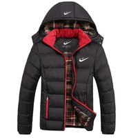 Nike Trending Men Loose Winter Warm Print Logo Sport Detachable Hooded Zipper Cotton Thick Windbreak Coat Black