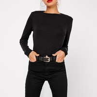 Missguided - Tall Crew Neck Ribbed Top Black