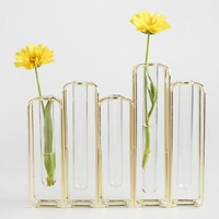Brass and Clear Glass Test Tube Vases