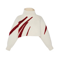 Milk White Oversize Cropped Embroidered Pullover | Moda Operandi