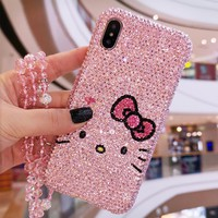 For iPhone XR Luxury Bling Crystal Hello Kitty Diamond case for iphone XS max X  6 7 8 plus hard back case gift pink case