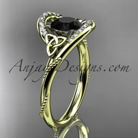 14kt yellow gold diamond celtic trinity knot wedding ring, engagement ring with a Black Diamond center stone CT7166
