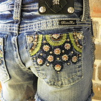 NWT Miss Me Girls Blue Jean Shorts w/ Flowers & Lot's of Color & Bling Size 14