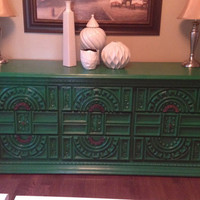 Beautiful Vintage Green Dresser/ Side board/ by Bleak2ChicDesigns