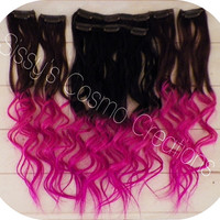 """12"""" Pink Passion Ombre Dip Dye Clip In Human Hair Extensions Sample"""