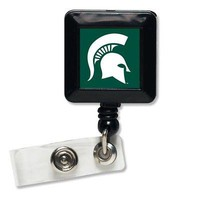 "Licensed Michigan State Spartans 1"" x 1"" Retractable Badge Holder Key Chain MSU 261687 KO_19_1"