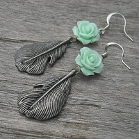 Feather Earrings with Mint Green Roses, Feather Earrings, Rose Earrings, Antiqued Silver, Gunmetal, Floral Earrings, Dangle Earrings,