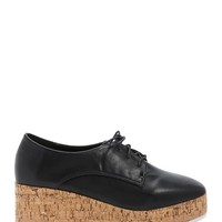 Faux Leather Oxford Wedges