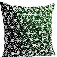 Amore Beaute Handmade Emerald Green Throw Pillow Cover with Silver Sequin Embroidered Hemp Leaf Pattern - Hand Embroidered Sashiko Pillow Covers- Cushion Covers - Geometric Throw Pillow Covers - Couch Pillow Covers - Embroided Pillow Covers -Decorative Thr