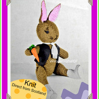 60's KNIT Pattern | Farmer's Boy Rabbit | INSTANT Download PDF | Vintage Easter Bunny | Straight from Scotland