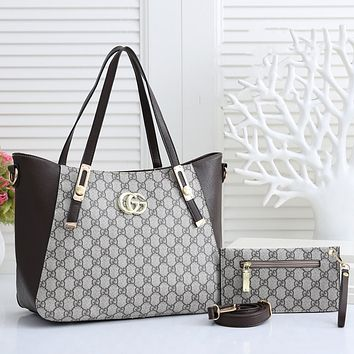 GG GG printed letters stitching color two-piece cosmetic bag shoulder bag messenger bag Gray&Coffee
