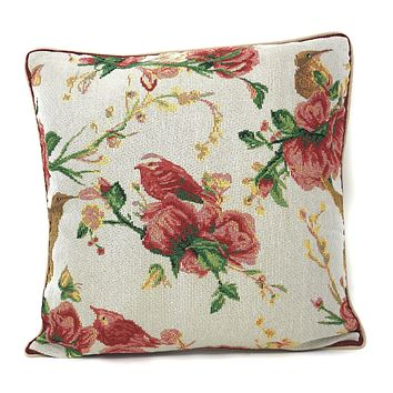 Tache Floral Red Roses Hummingbirds Ivory Woven Tapestry Cushion Throw Pillow Cover, 16x16 (18109)
